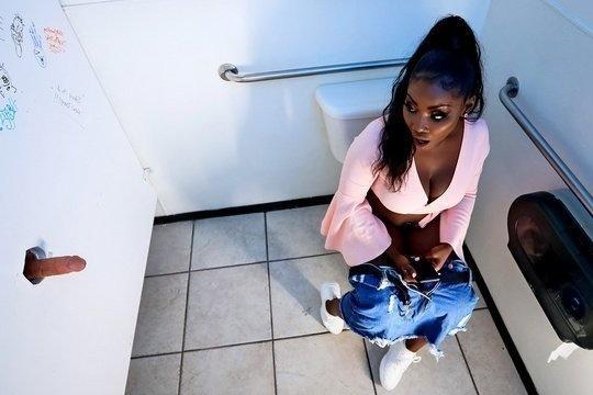 Белый хуй присунул грудастой негритянке Osa Lovely в туалете