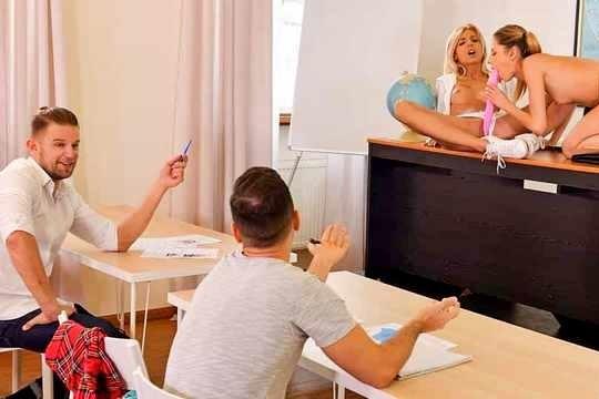 Сексуальная училка Alyssia Kent устроила групповуху со студентами после занятий
