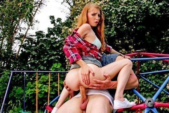 Рыжая телка Ava Parker за деньги сосет большой хуй и трахается в парке